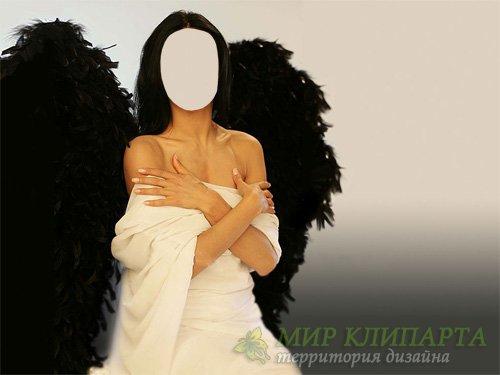 Шаблон для фото - Девушка ангел с крыльями
