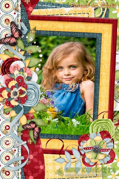 Детская рамка для фото - Джинсовый стиль