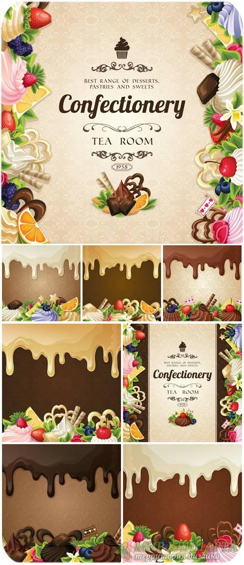 Фоны со сладостями, шоколад, кексы в векторе / Background with sweets, choc ...