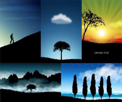 Великолепные очертания пейзажей в векторном исполнении