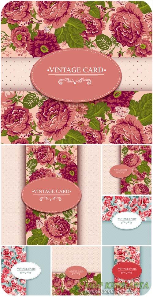 Винтажные фоны с цветами, векторные карточки / Vintage background with flow ...