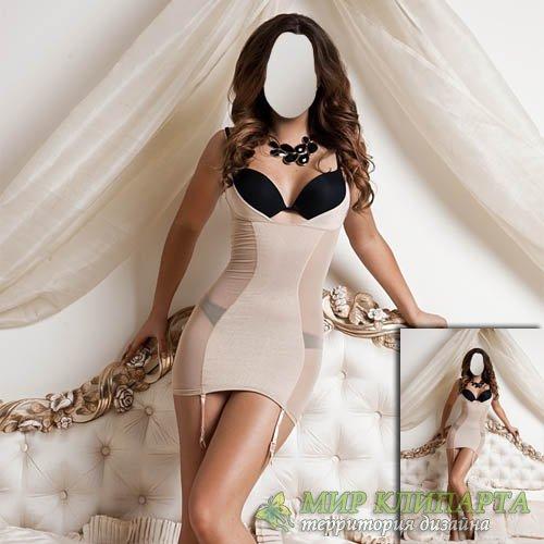 Шаблон для Photoshop - Красивая брюнетка стоя на кровати