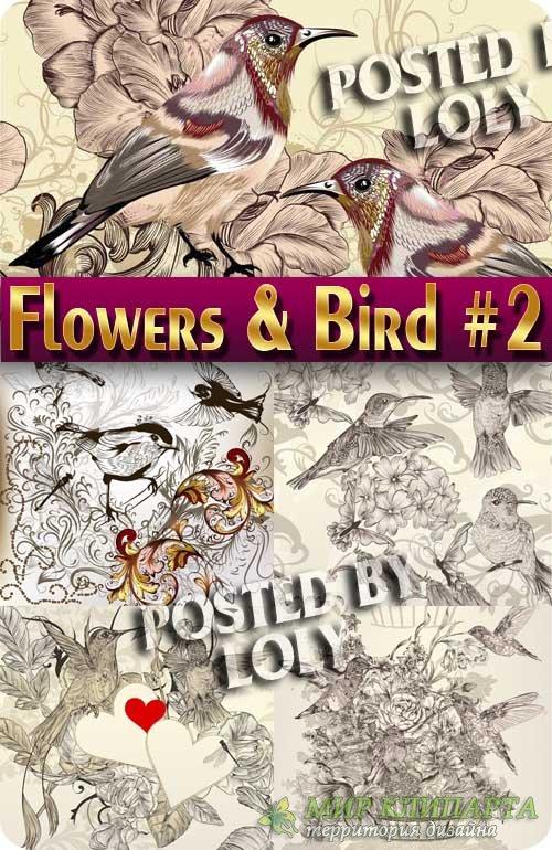 Цветочные фоны с птичками #2 - Векторный клипарт