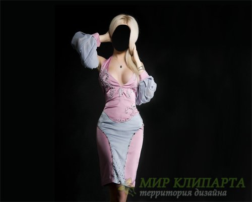 Шаблон для фотошопа - Девушка в платье фотосет