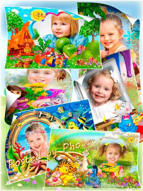 Детские рамки для фотошоп с героями мультфильмов