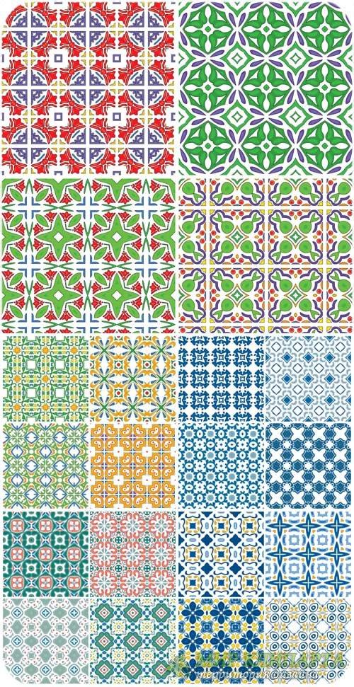 Векторные геометрические узоры, фоны с цветочными узорами / Vector geometri ...