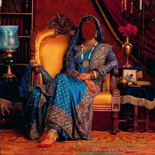 В индийском платье - Шаблон для фотомонтажа