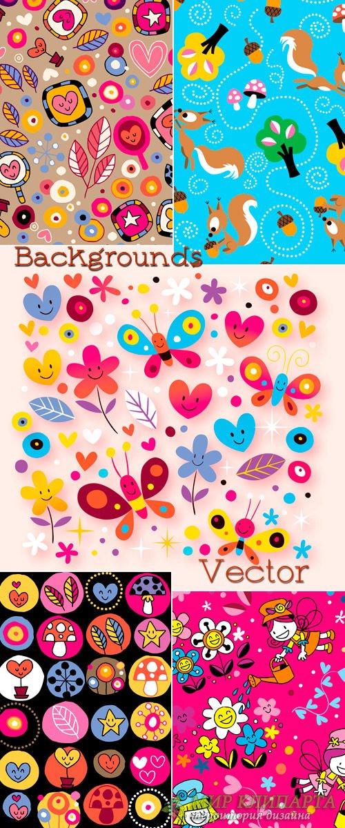 Фоны в Векторе для детей с белками, цветами и сердечками