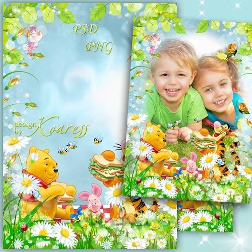 Детская рамка для фотошопа с героями мультфильма Диснея Винни Пух - Веселый ...