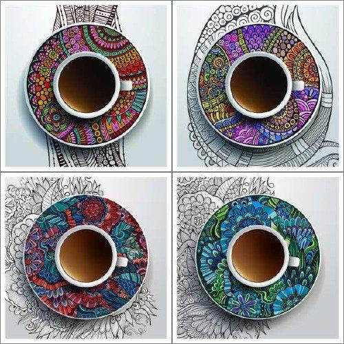 Этнические узоры и кофейные кружки в векторе