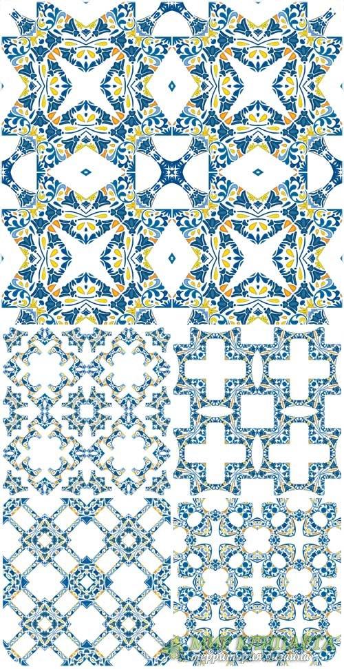 Векторные фоны с синими узорами / Vector background with blue patterns