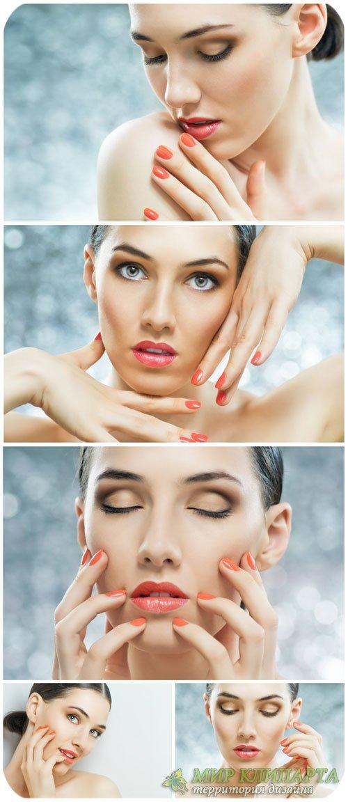 Красивая женщина, макияж / Beautiful woman, makeup - Stock Photo