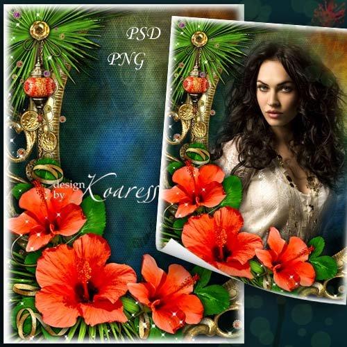 Женская фоторамка - Тропический яркий цветок