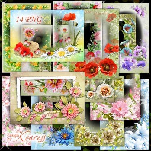 Набор цветочных png рамок - Нежные летние цветы