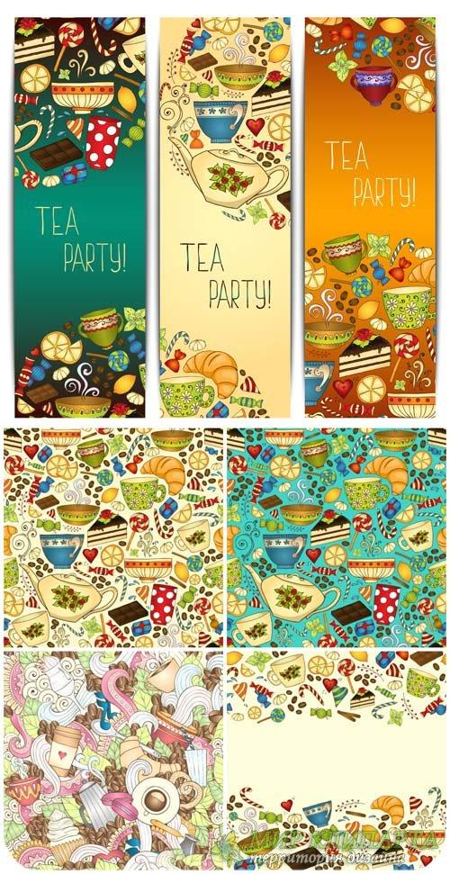 Чай, фоны и баннеры в векторе / Tea, backgrounds and banners vector