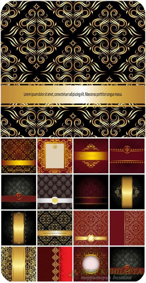 Винтажные фоны в векторе, фоны с золотыми узорами / Vintage backgrounds in  ...