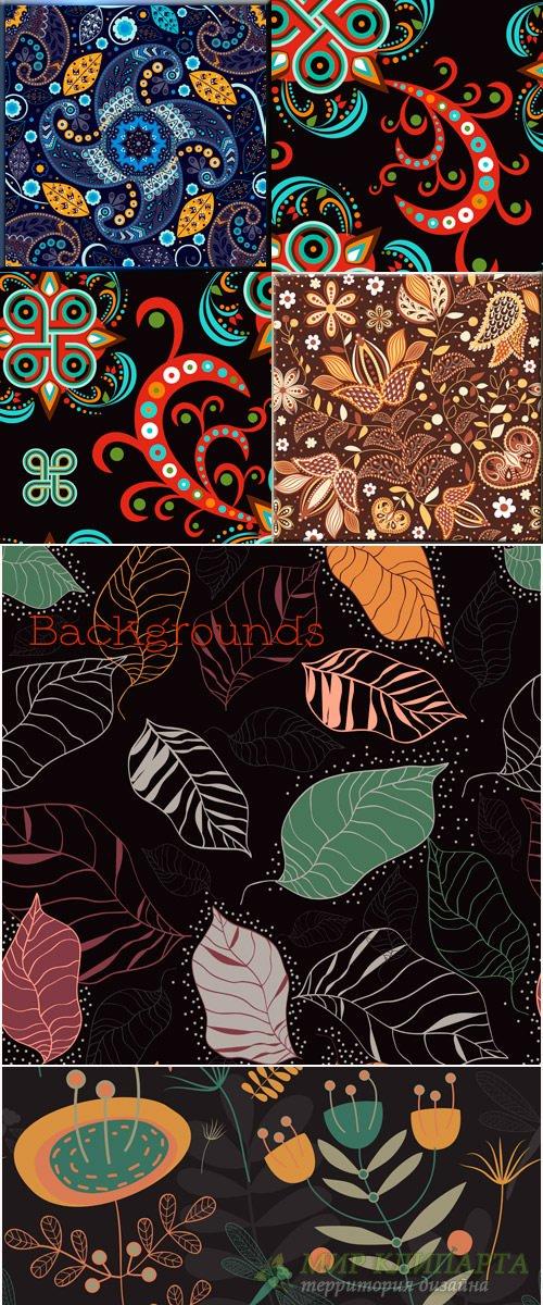 Фоны в Векторе с декоративными узорами, листочками и цветами
