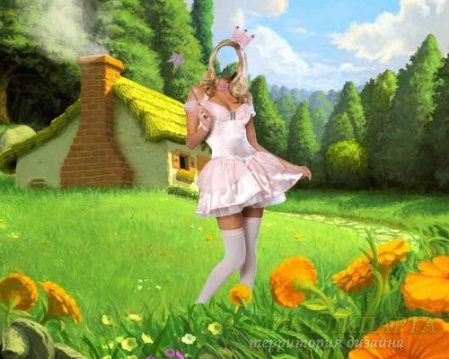 Шаблон для фотомонтажа - В костюме феи на поляне сказок