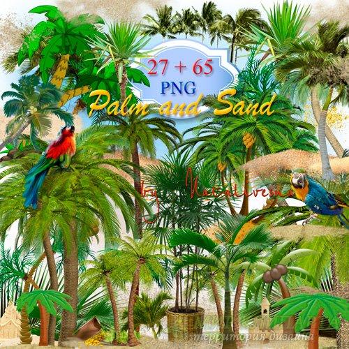 Клипарт  в PNG  для творческих идей – Пальмы  и Песок
