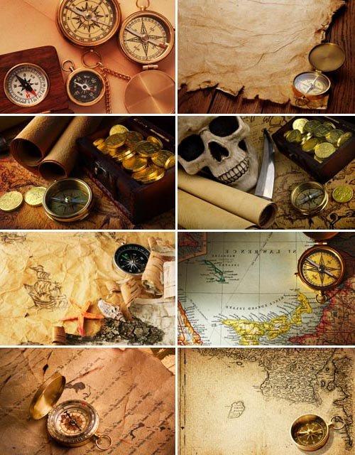 Коллекция компасов (набор морских фонов)