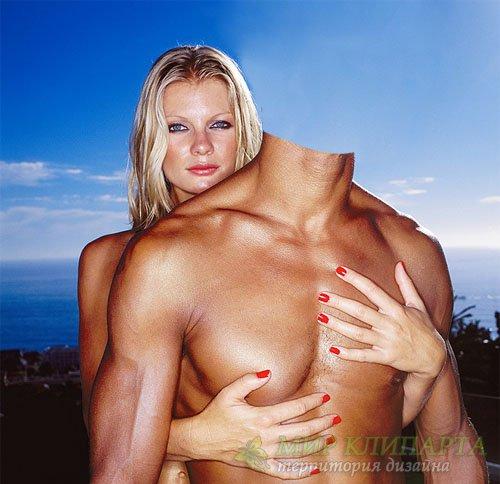 Шаблон для фотошопа - Накаченный парень с красивой блондинкой