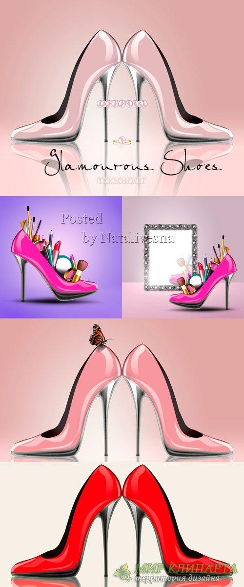 Гламурные Туфли и косметика для стильного макияжа
