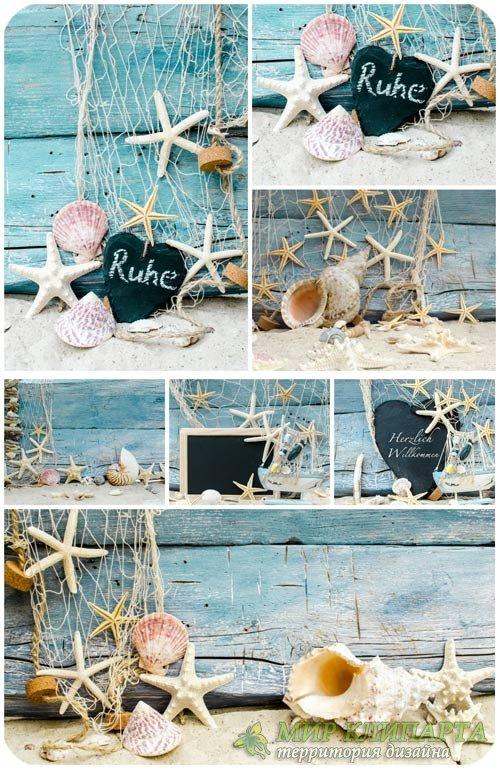 Морские фоны с ракушками и сетями / Marine background - Stock photo