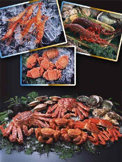Морепродукты: креветки, омары и крабы