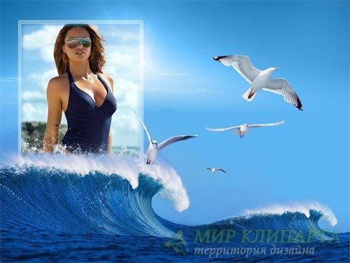 Рамка для фотошоп - Чайки и морские волны