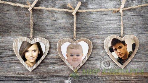 Рамка для фотомонтажа - Три сердечка на веревке