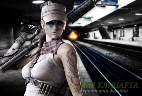 Шаблон для фотошопа - В метро с автоматом