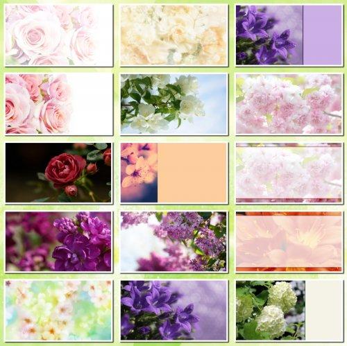 Фоны для визиток и дизайна цветочные. 15 JPEG