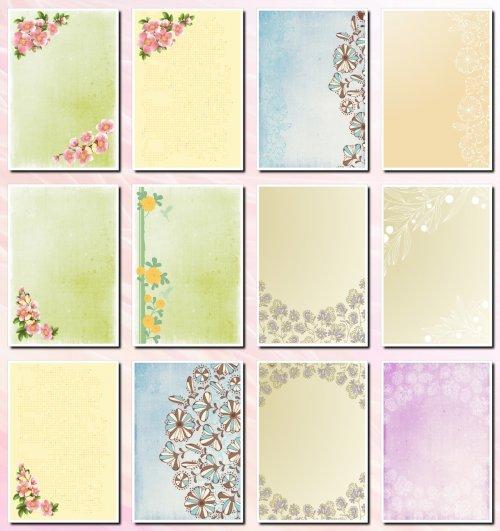 Фоны цветочные для творческих работ. формат А4. 14 JPEG
