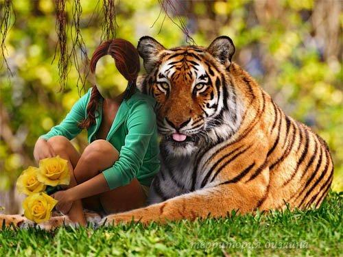 Шаблон женский - С тигром и цветами на лужайке