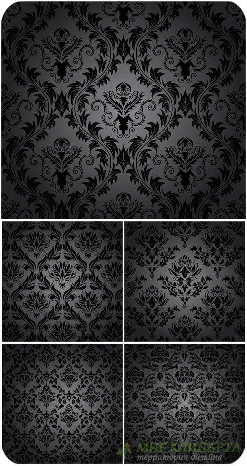 Черные векторные фоны с винтажными узорами / Black vector backgrounds with  ...