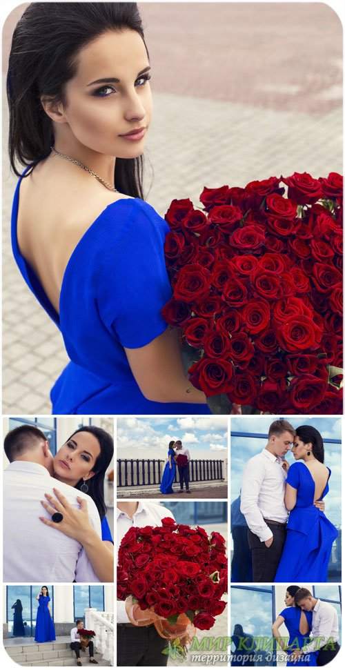 Влюбленная парабдевушка с розами / Couple in love, girl with roses - Stock  ...