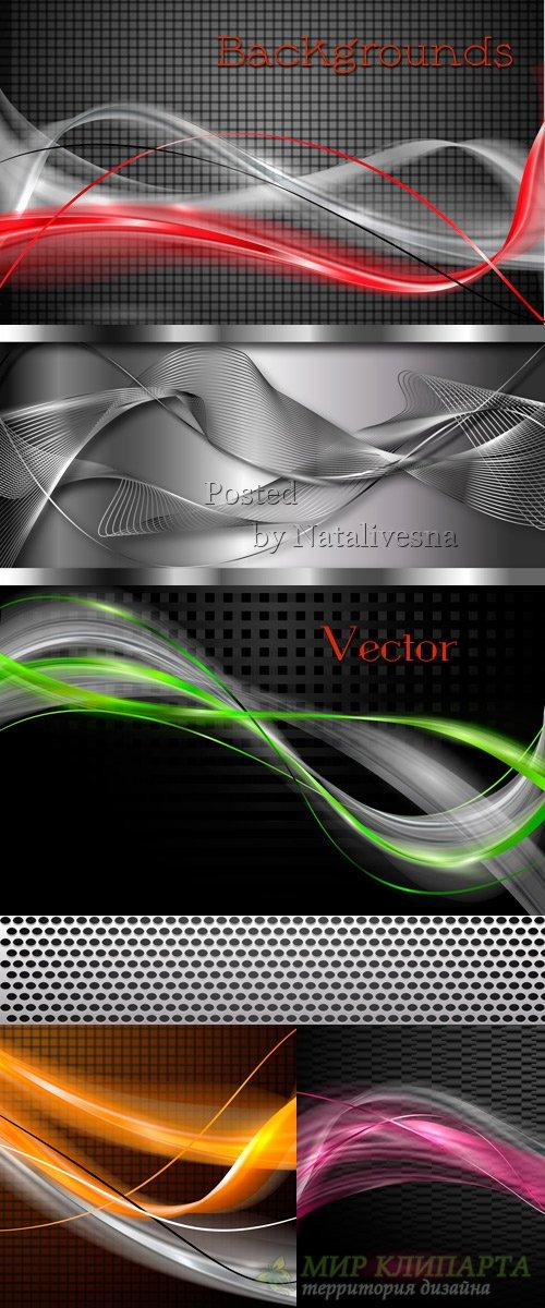 Декоративные фоны с красивыми цветными линиями в Векторе