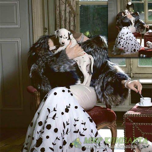 Шаблон для девушек - Девушка в платье с щенками