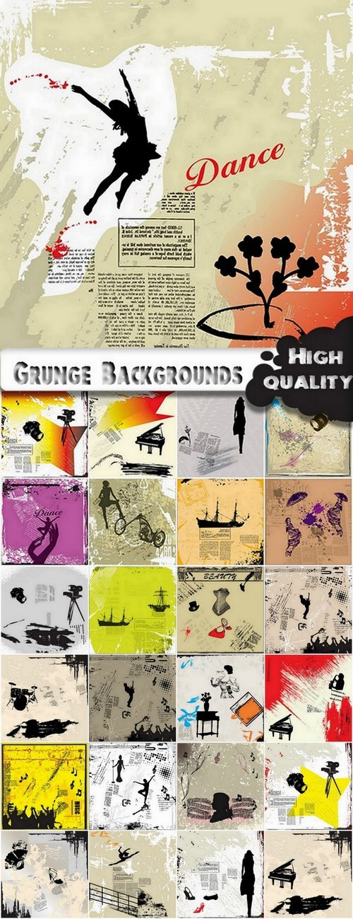 Grunge Backgrounds with different silhouette in vector from stock - 25 Eps