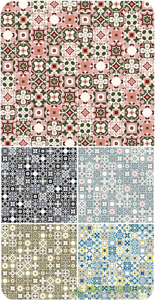 Разноцветные векторные фоны с цветочными элементами / Colorful vector backg ...
