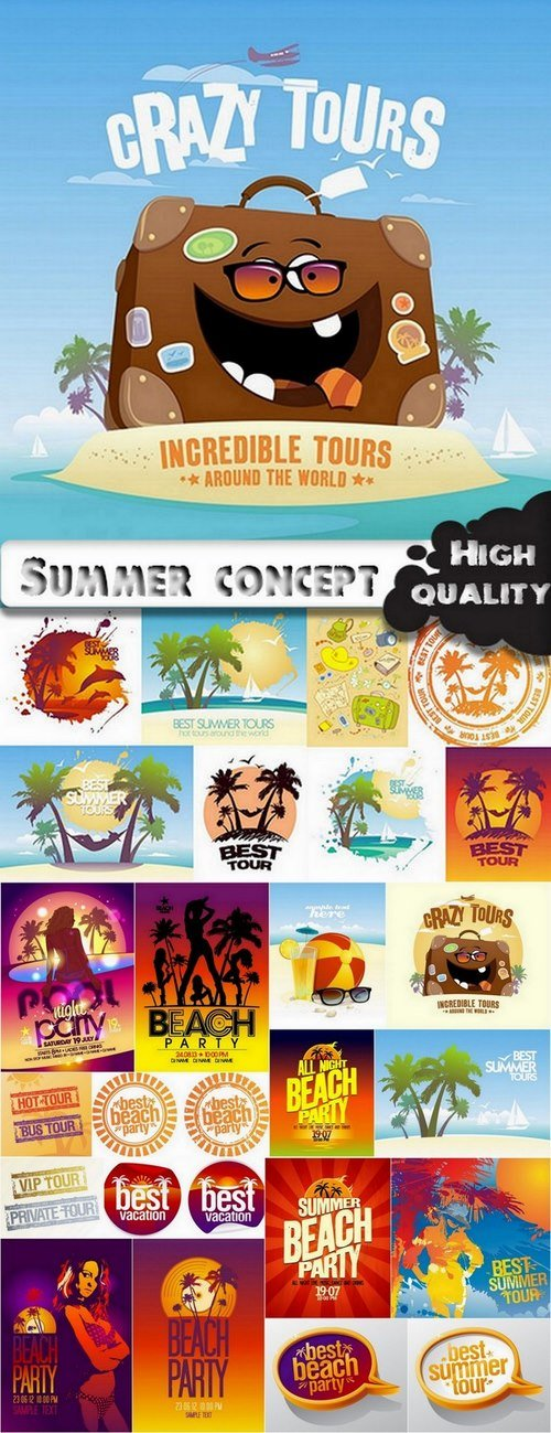 Summer concept and summer elements for flyers design in vector from stock - ...