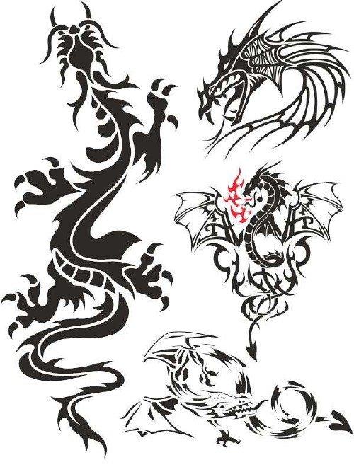 Дракон - подборка векторных тату