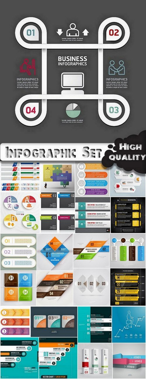 Infographic Design Elements in vector set from stock #62 - 25 Eps