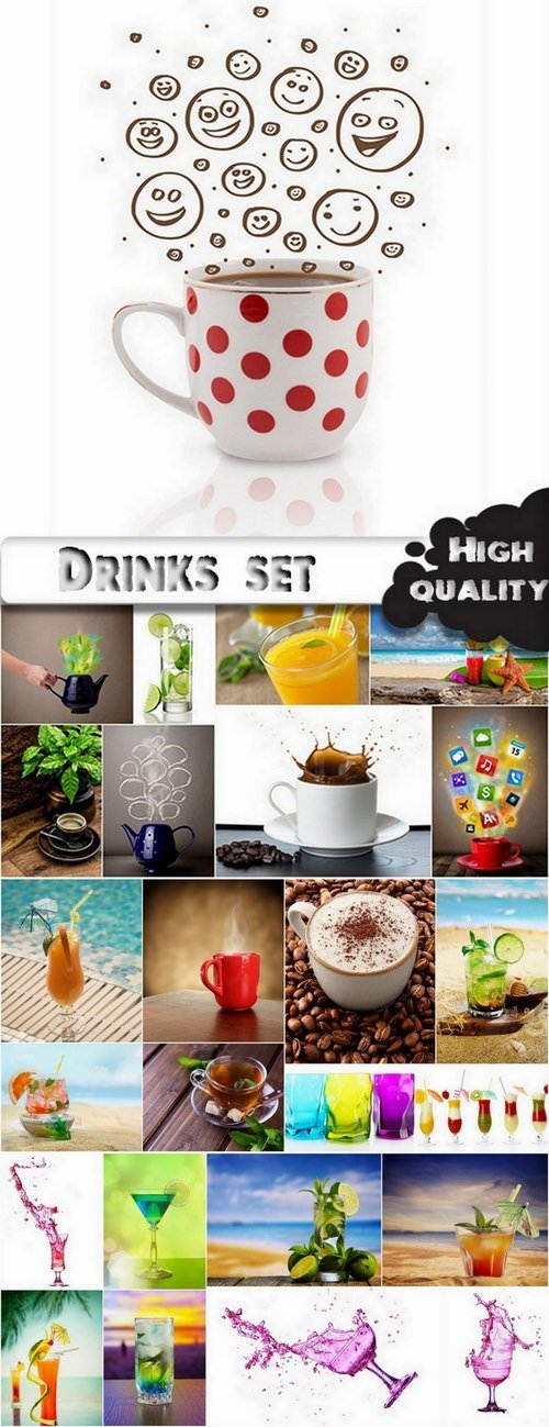 Drinks set with coffee and cocktails - 25 HQ Jpg