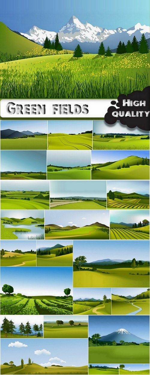 Green fields and rural landscapes in vector from stock - 25 Eps