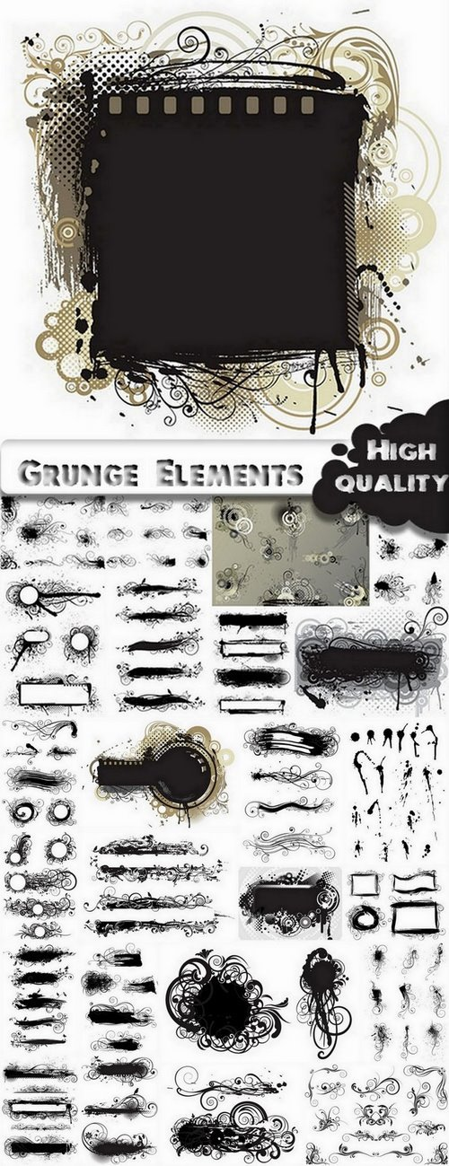 Grunge monogrsm frame and design elements in vector from stock - 25 Eps