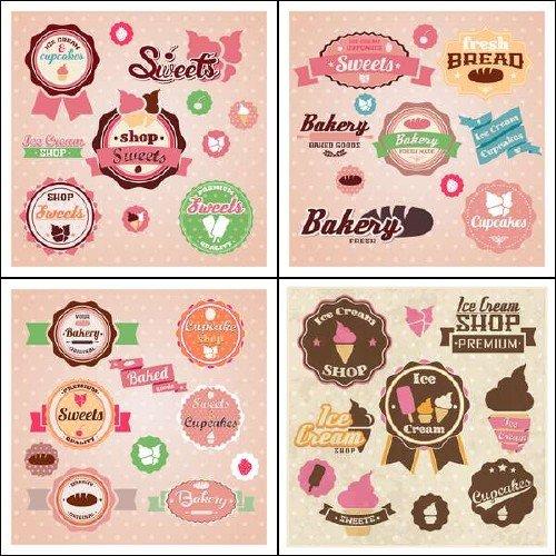 Векторные эмблемы и этикетки для сладких лакомств