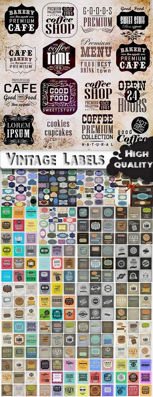 Vintage Labels in vector set from stock - 25 Eps