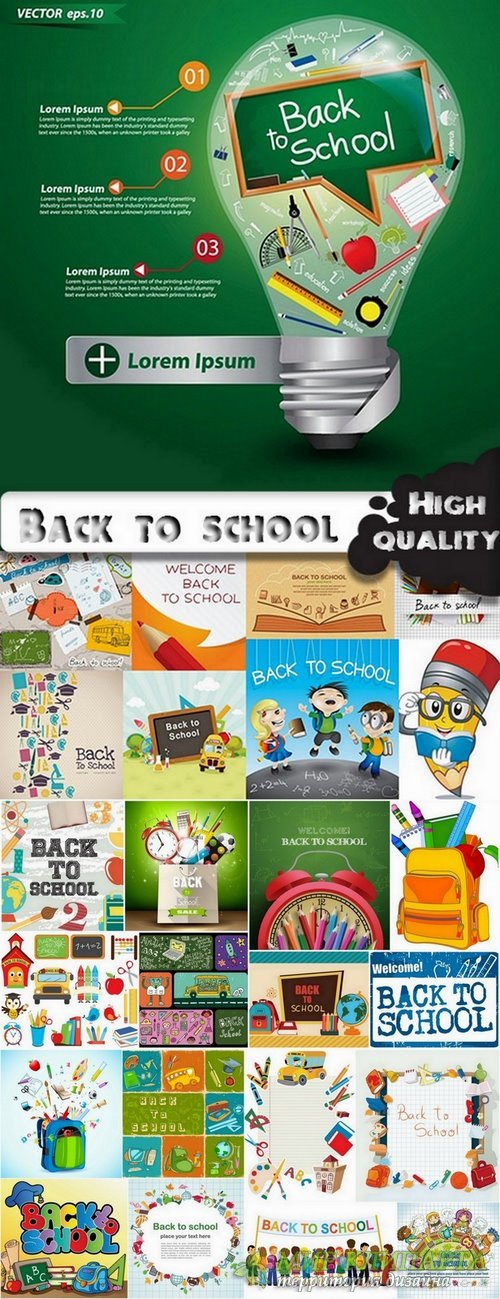 Back to school - objects and design elements in vector from stock - 25 Eps