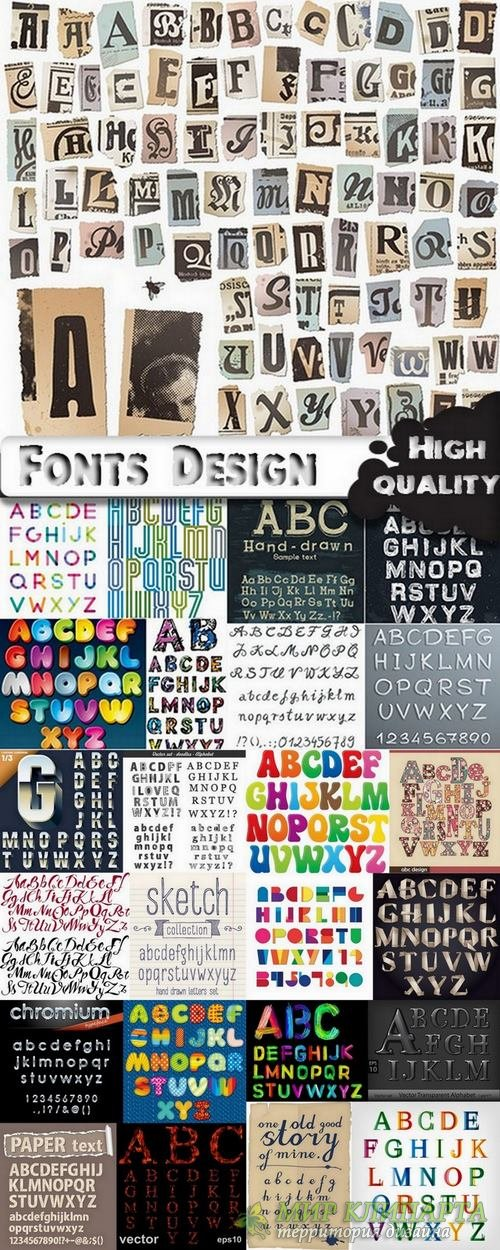 Different Fonts in vector from stock - 25 Eps